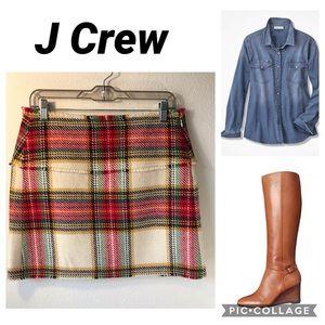 J Crew / Wool Plaid Tartan Skirt